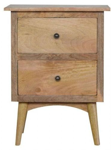 Mango Wood 2 Drawer Bedside Table On Legs